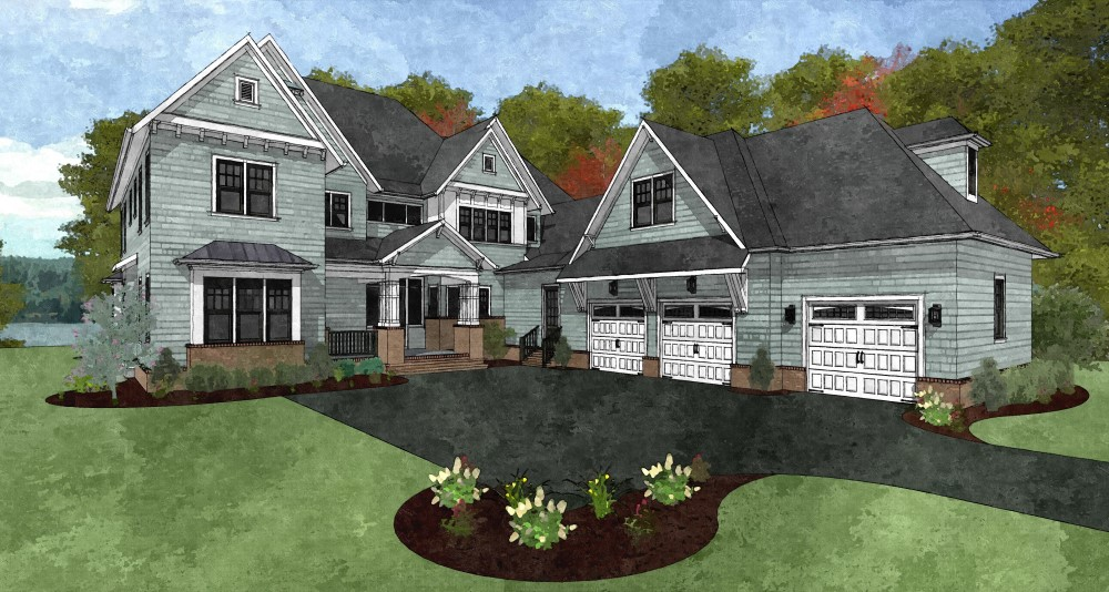 Watercolor rendering of front of home with 3 car garage and gabled accents