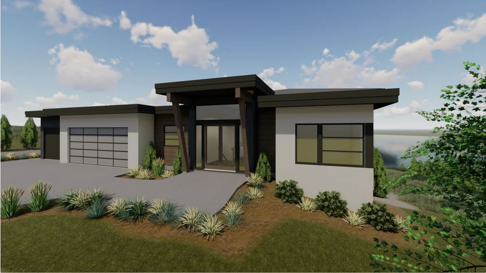Front render of modern home with flat roof