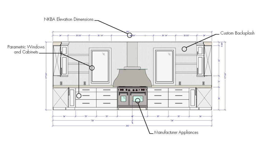 Kitchen Elevation showing dimensions of cabinets, appliances, and windows