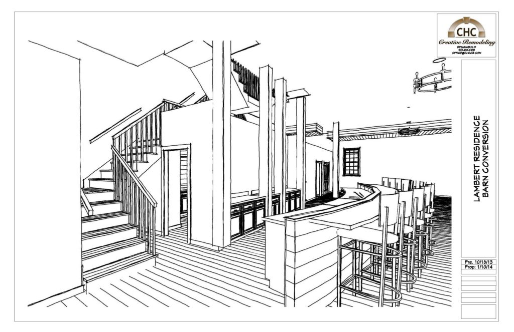 Kevin's preliminary design rendering using the Line Drawing pencil sketch technique.