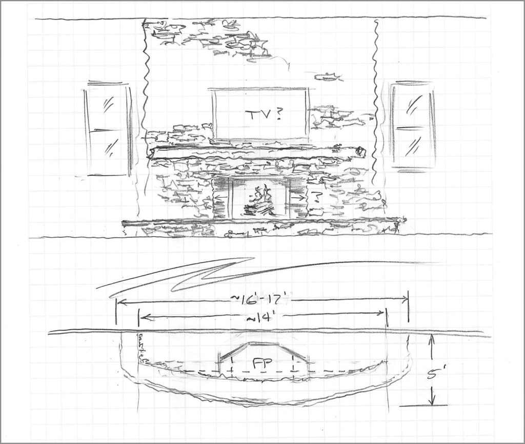 Kevin's hand-drawn concept sketch for the party barn.