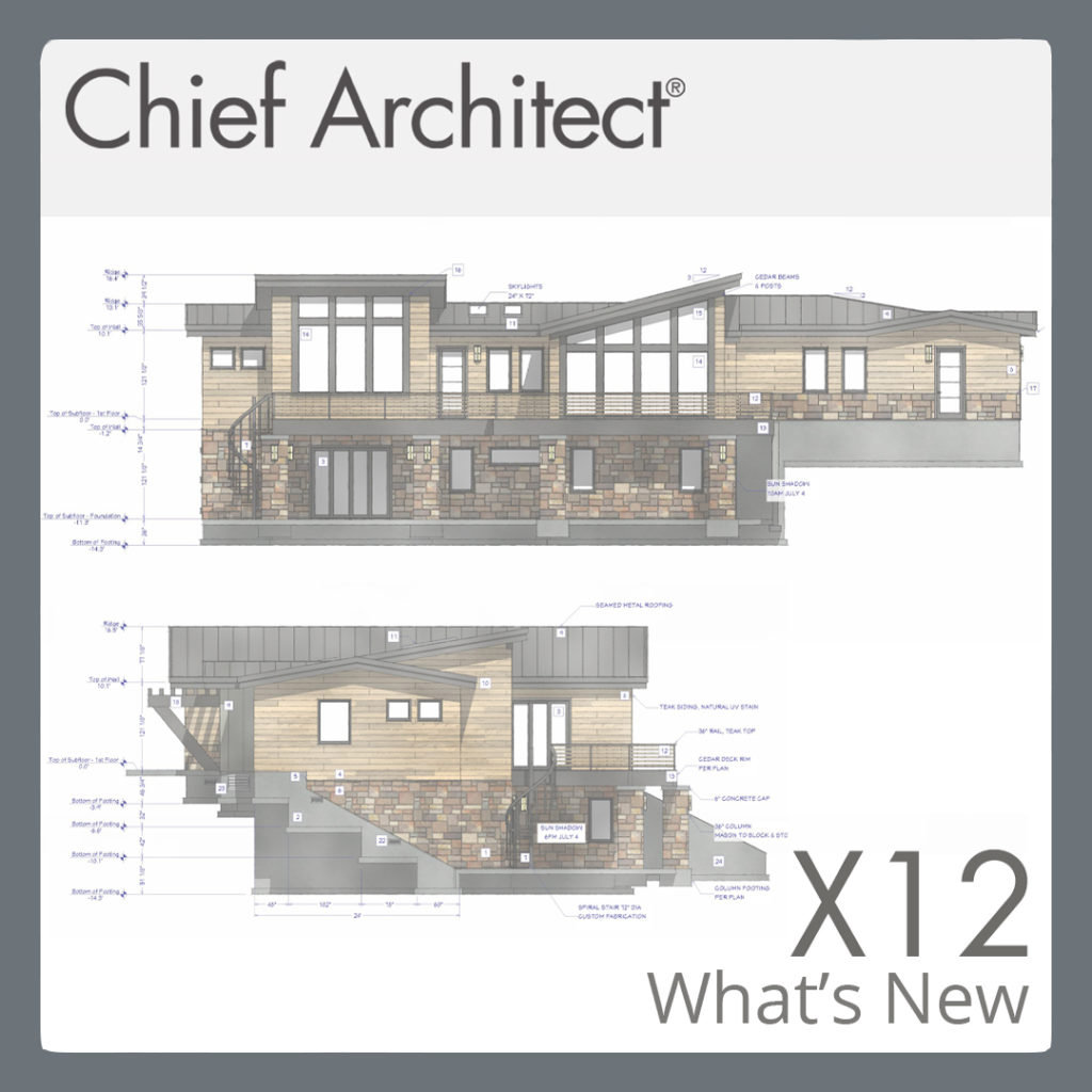 Elevation view of a house, showing what's new in Chief Architect X12