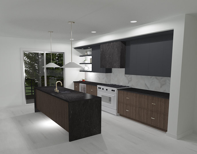 A 3D conceptual rendering capturing some of the latest trends as seen at KBIS 2020 including dark colors mixed with wood, champagne hardware, and marble flooring and backsplash.