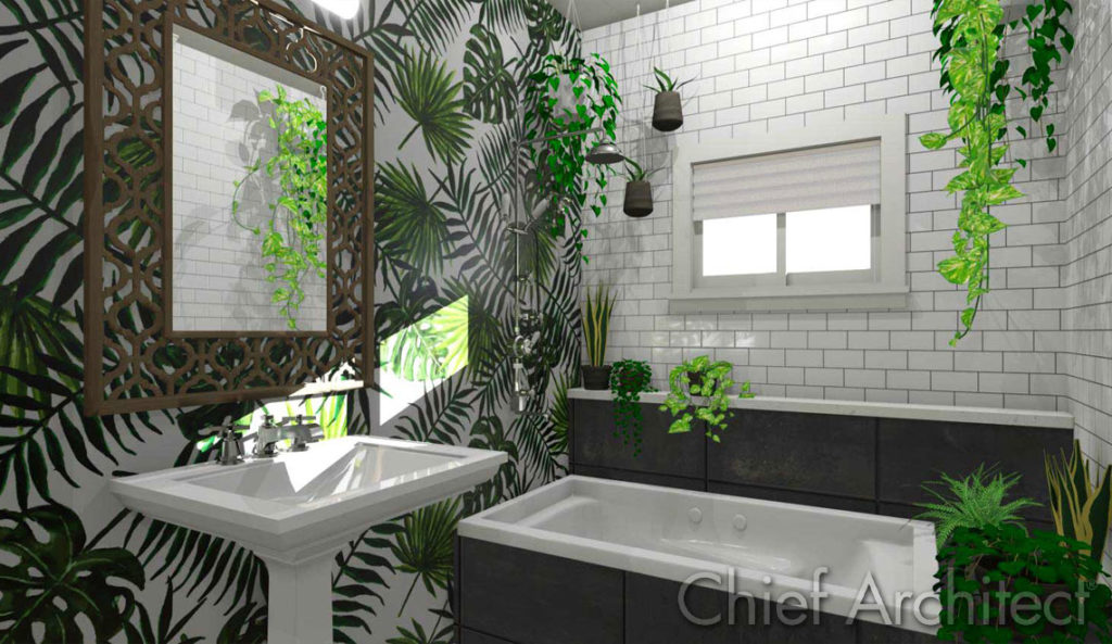 Trendy bathroom with large leaf patterned walls, slate bathtub surround, white subway tile, a pedestal sink and plenty of house plants to add life to the space.