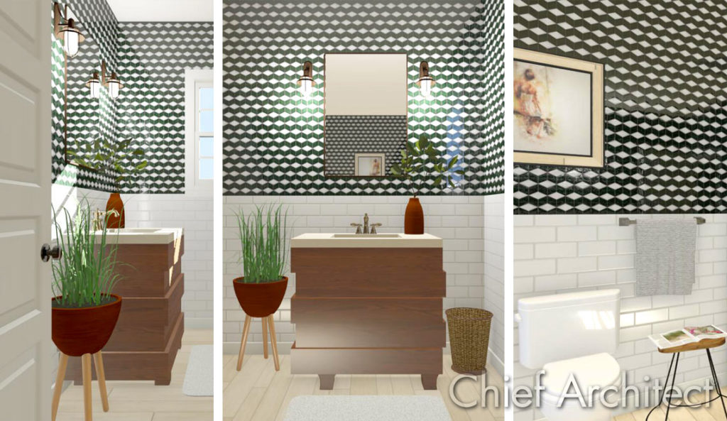 A unique bathroom where plants bring life to the space. It is accented with trends like terracotta, textured walls, mixed metals, natural wood vanity, and wicker elements. This interior designed and rendered in Chief Architect.