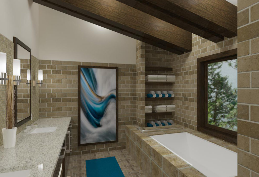 Master bathroom with natural stone and exposed beams.