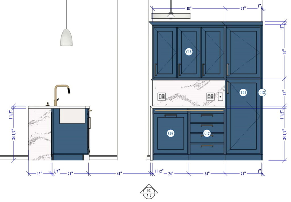 Kitchen Elevation showing accessible grab bars.