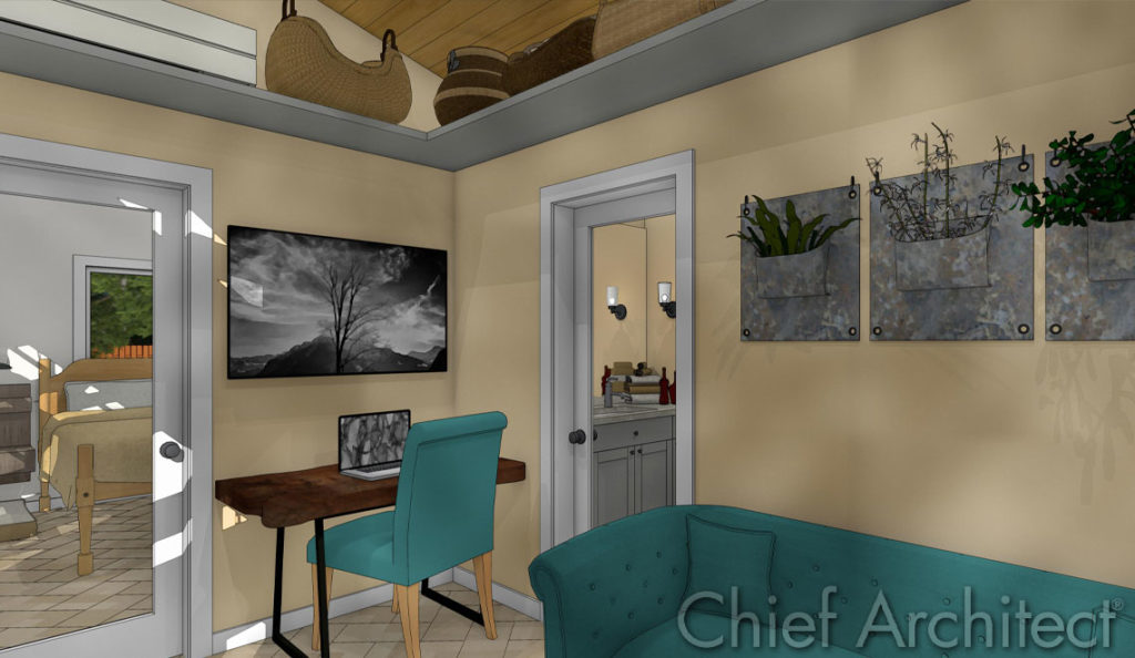An elegant home office, designed and rendered in Chief Architect.
