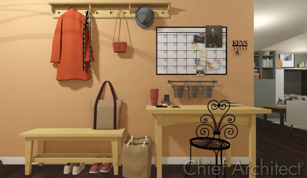 Add some personality to your home office. This office designed and rendered in Chief Architect.