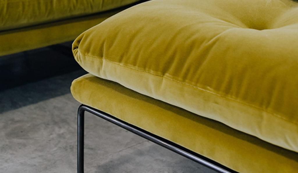 A contemporary Italian sofa in a bright pear green velvet.