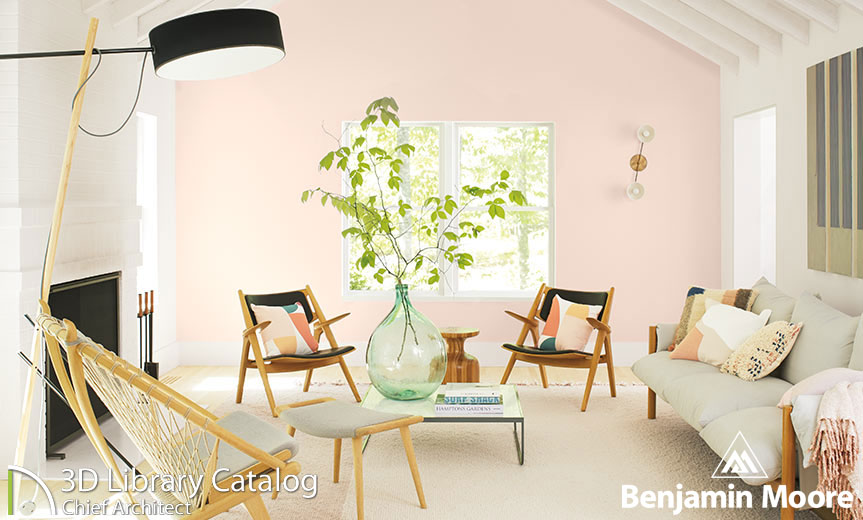 Large seating area with blush walls and greenery.