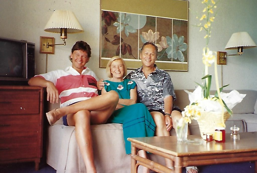 John Rattenbury with his wife Kay and Mike Rust in 1990 in Hawaii while working on the Waikapu Valley Country Club clubhouse.