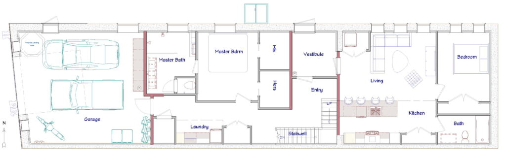 First floor layout of a remodeled firehouse turned personal residence.