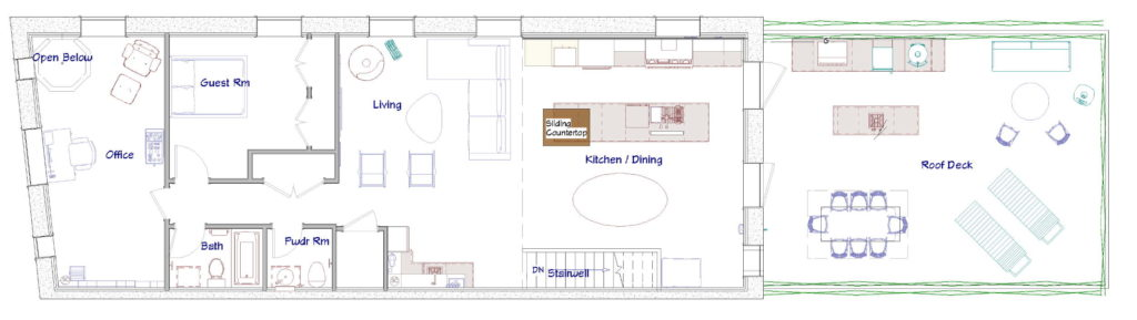 Second floor layout of a remodeled firehouse turned personal residence.