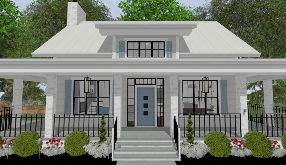 Cottage home with white pillars, a blue front door and a wrap-around porch.