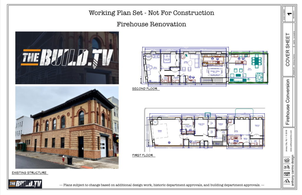Working plan set of firehouse renovation for thebuild.tv.