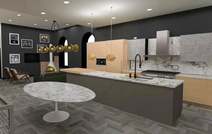 Rendering of a modern kitchen with stainless steel appliances, marble and black accents with natural wood cabinets.
