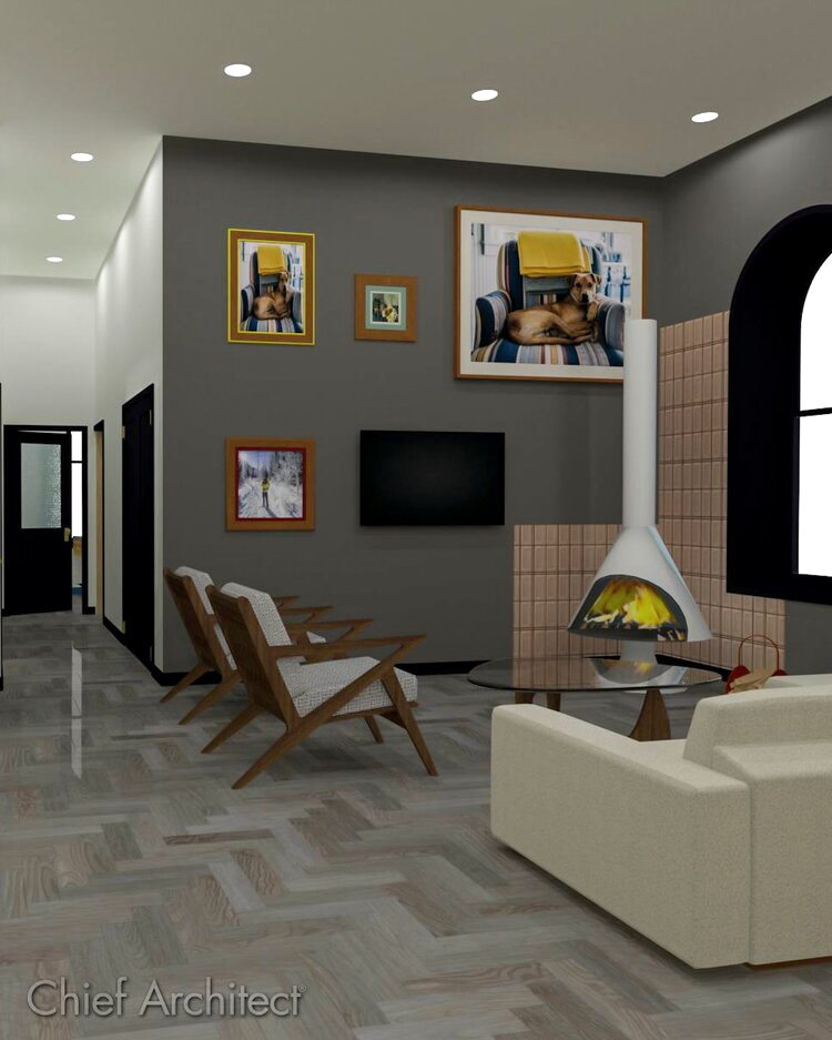 Living room rendering with custom fireplace and photo wall.
