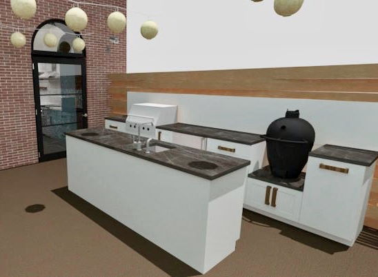 Roof top kitchen rendering