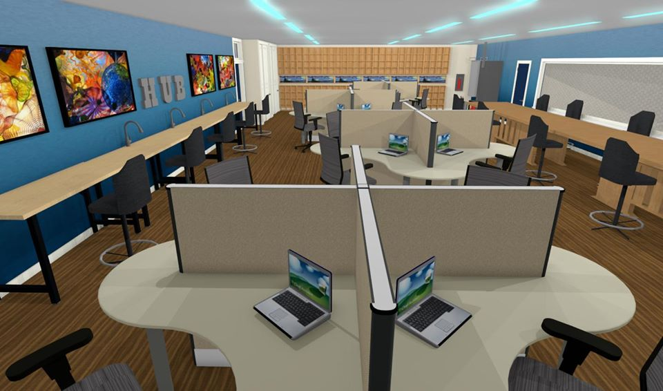 Rendering of a classroom featuring multiple work stations.