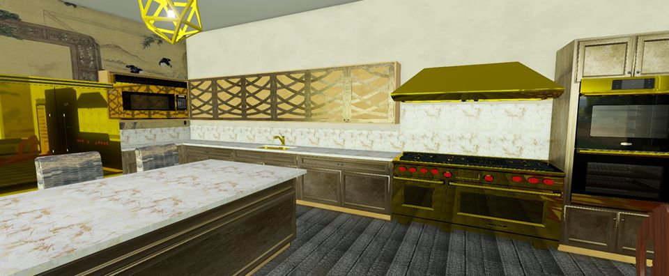 Traditional kitchen with gold finishes and marble counter tops.