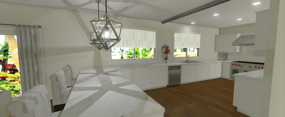 Large, open kitchen space with white cabinets and custom pendants.