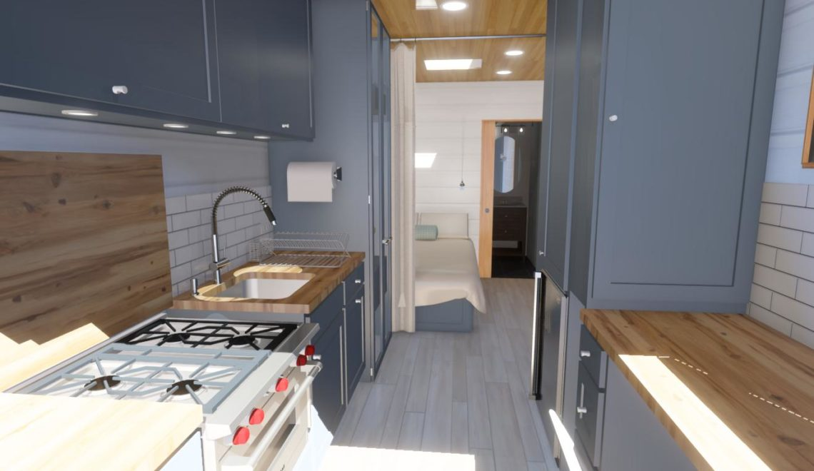 Rendering of a remodeled U-Haul converted to living space.