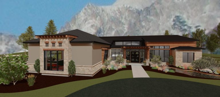 Modern mountain home design with tan stucco and brick accents.