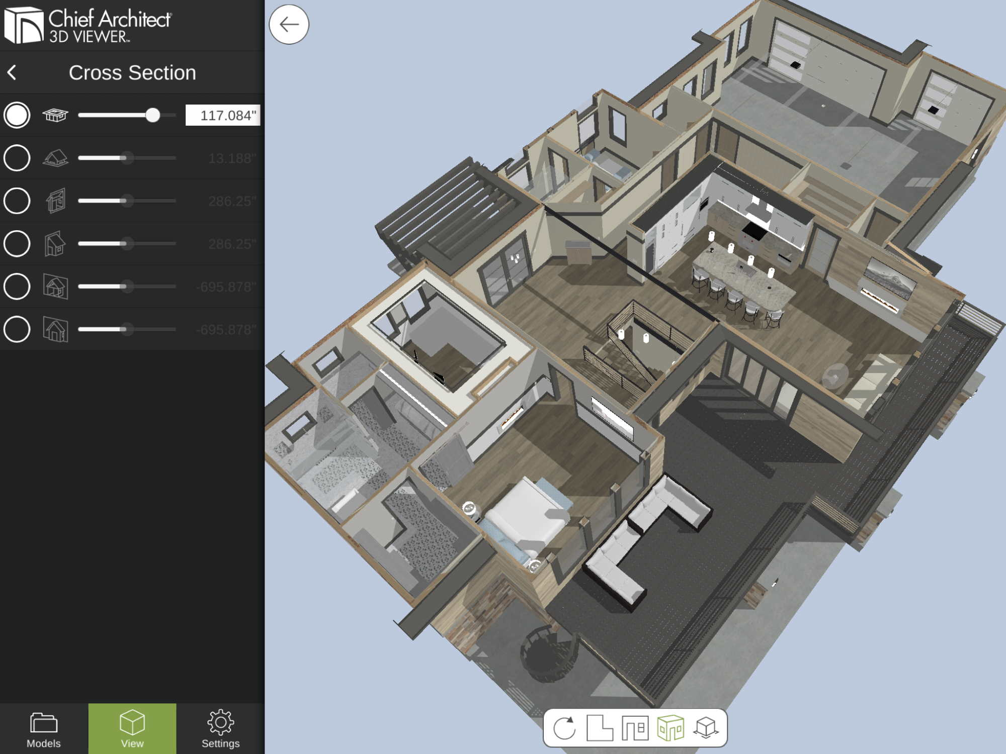 Overhead floor plan view in 3D Viewer application shows model at various heights.