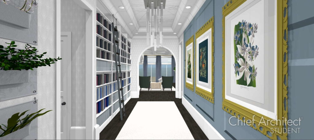 Elaborate hallway with custom shelving and gallery wall.