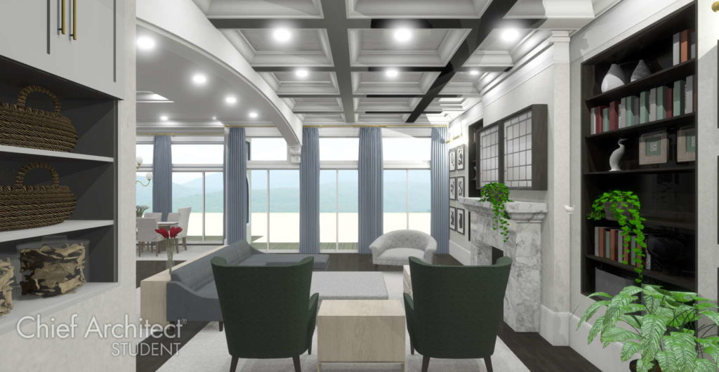 Bright, open living room with coffered ceiling and wall of windows.