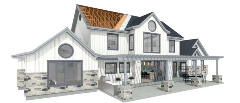 Residential farmhouse design with white board and batten exterior with a gray brick pony wall