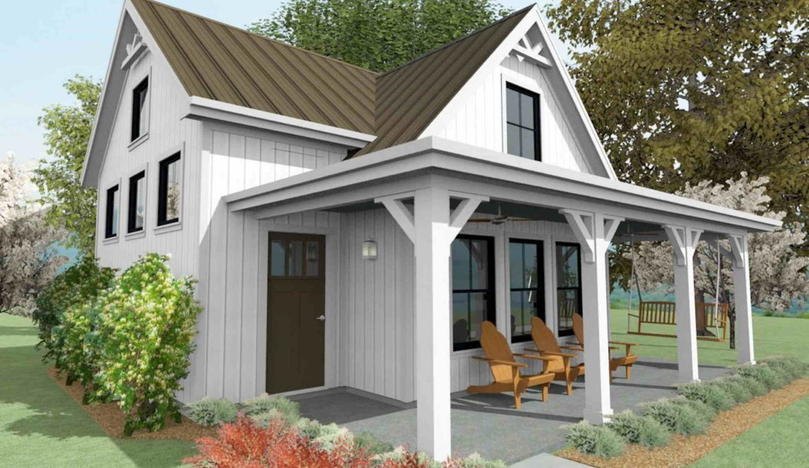 Micro-living home with a vaulted living area and a front porch.