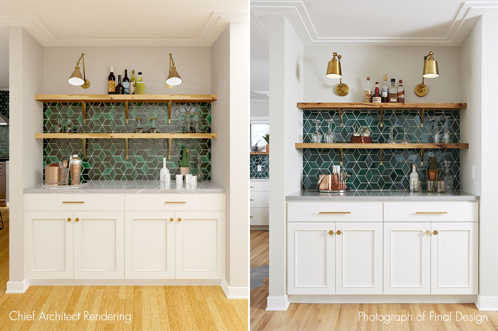 Home bar design with a Mercury Mosaics backsplash. Rendered in Chief Architect.