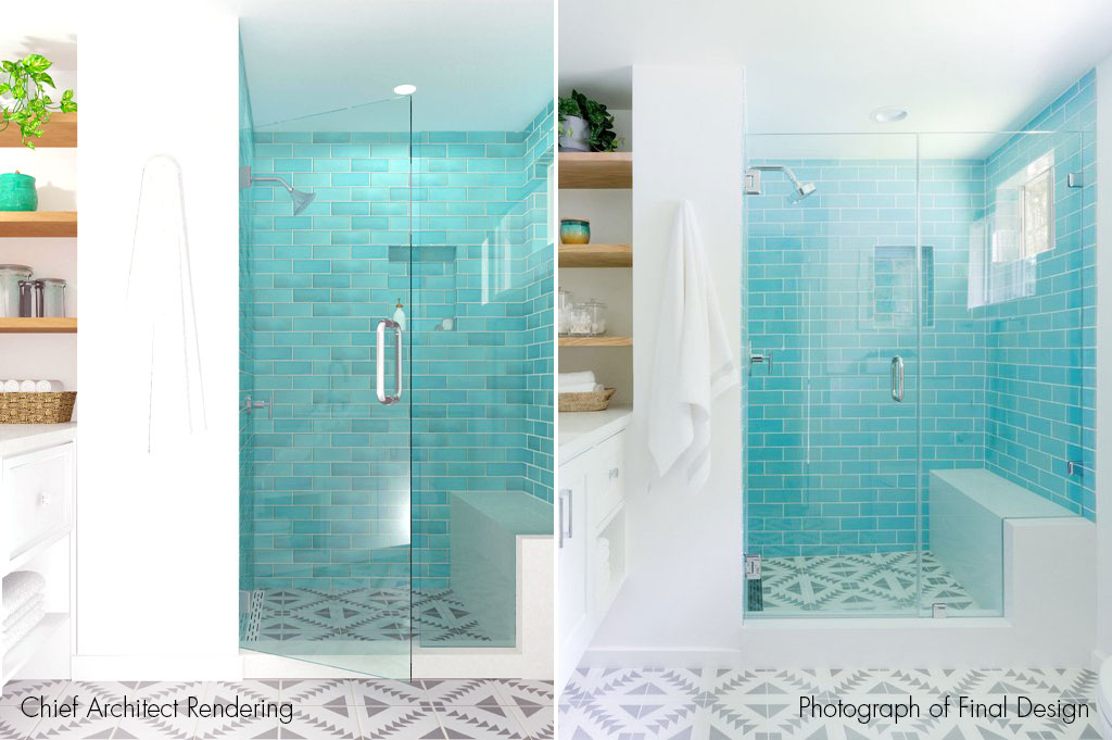 A stunning bathroom design featuring handmade tile from Mercury Mosaics.
