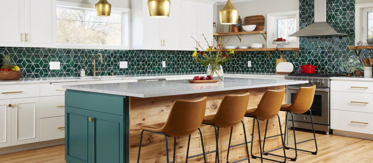 Kitchen design featuring handmade tile from Mercury Mosaics.