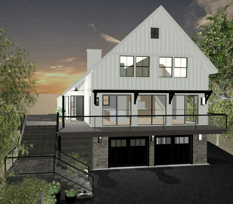 Modern farmhouse style home with black windows, white siding, and a standing seam metal roof.