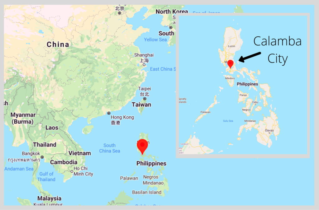 Map of Philippines with a call out for Calamba City.