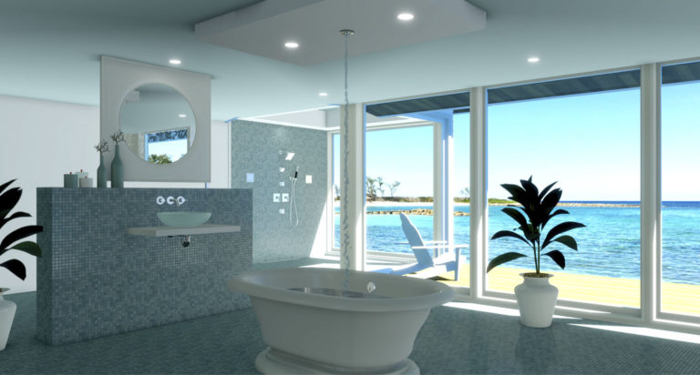 Beach bathroom rendering with blue accent tiles and large windows.