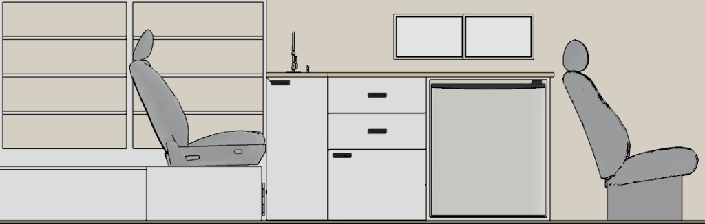 Elevation view of a van used for its conversion and restoration, created using Chief Architect Software.