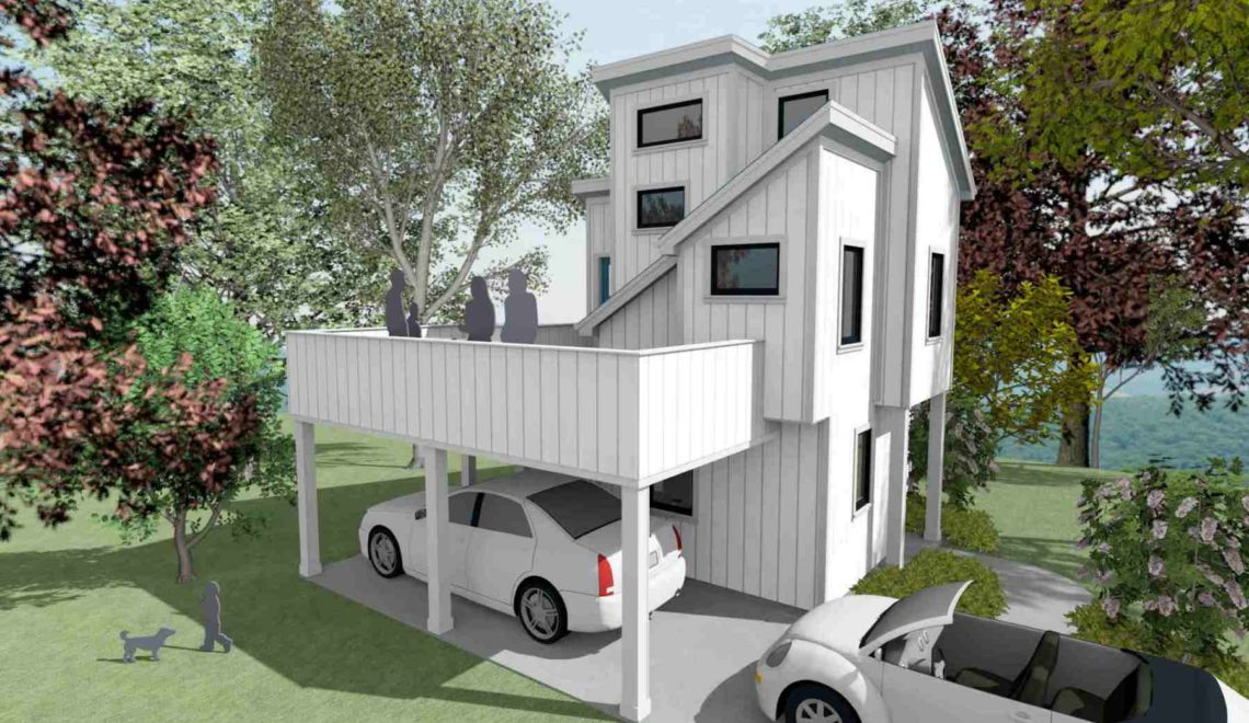 Micro living house with 3 stories and deck over carport.