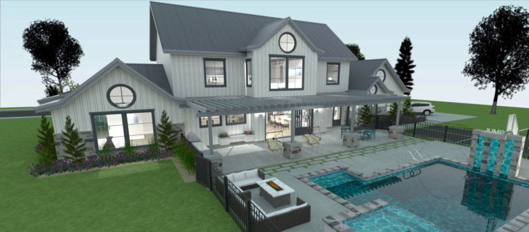 Exterior rendering with an outdoor pool and an outdoor kitchen area.