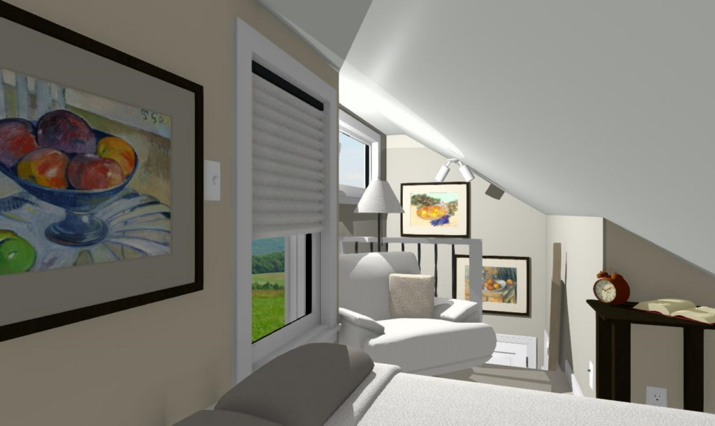 Bedroom in micro home utilizes all space