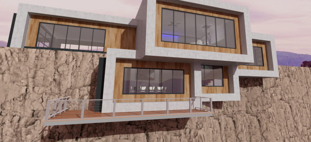 Cliff house with a large deck that appears, from eye-level, to be floating with a clean, ultramodern look.