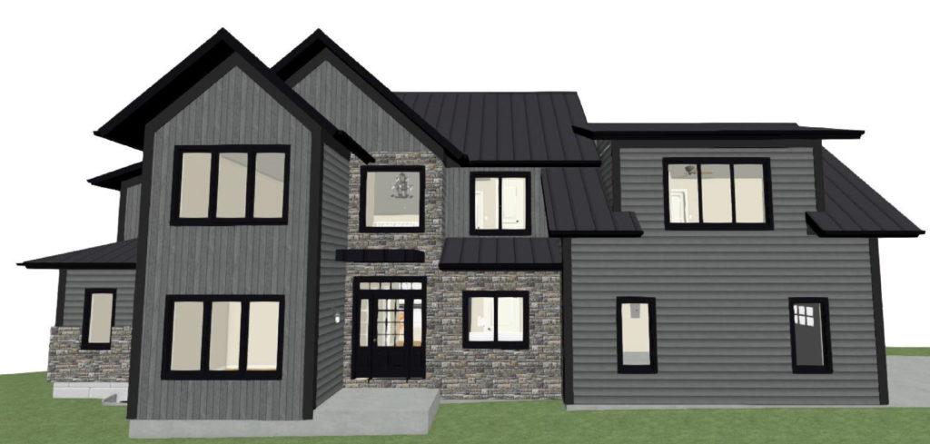 Two-story residential design with a dark gray shiplap exterior and large open windows.