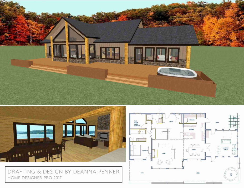 Lake cabin design with an open layout to accommodate large gatherings.
