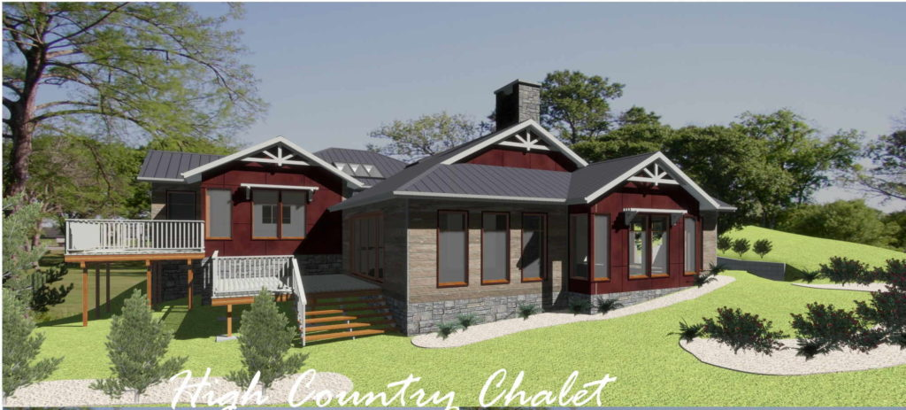 Residential design with red exterior accents and a large back deck.