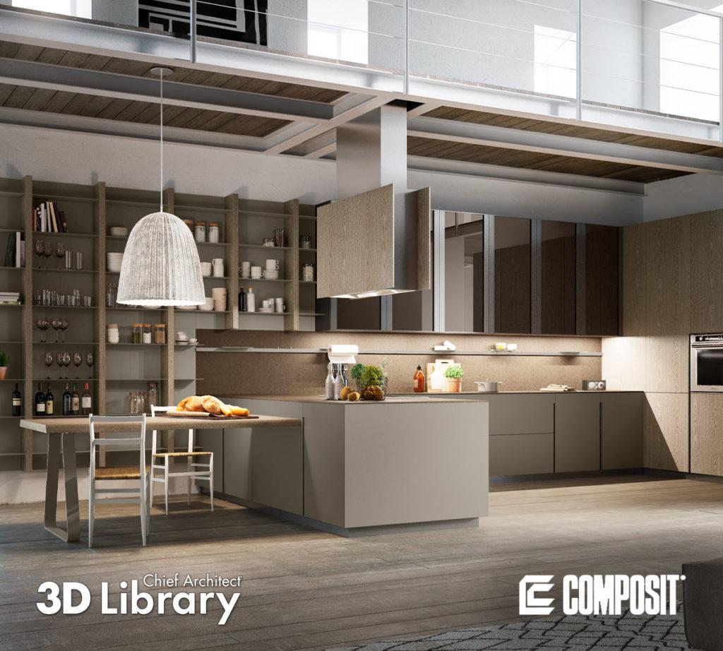 Beige, modern kitchen under a catwalk has eat-in dining and storage behind.