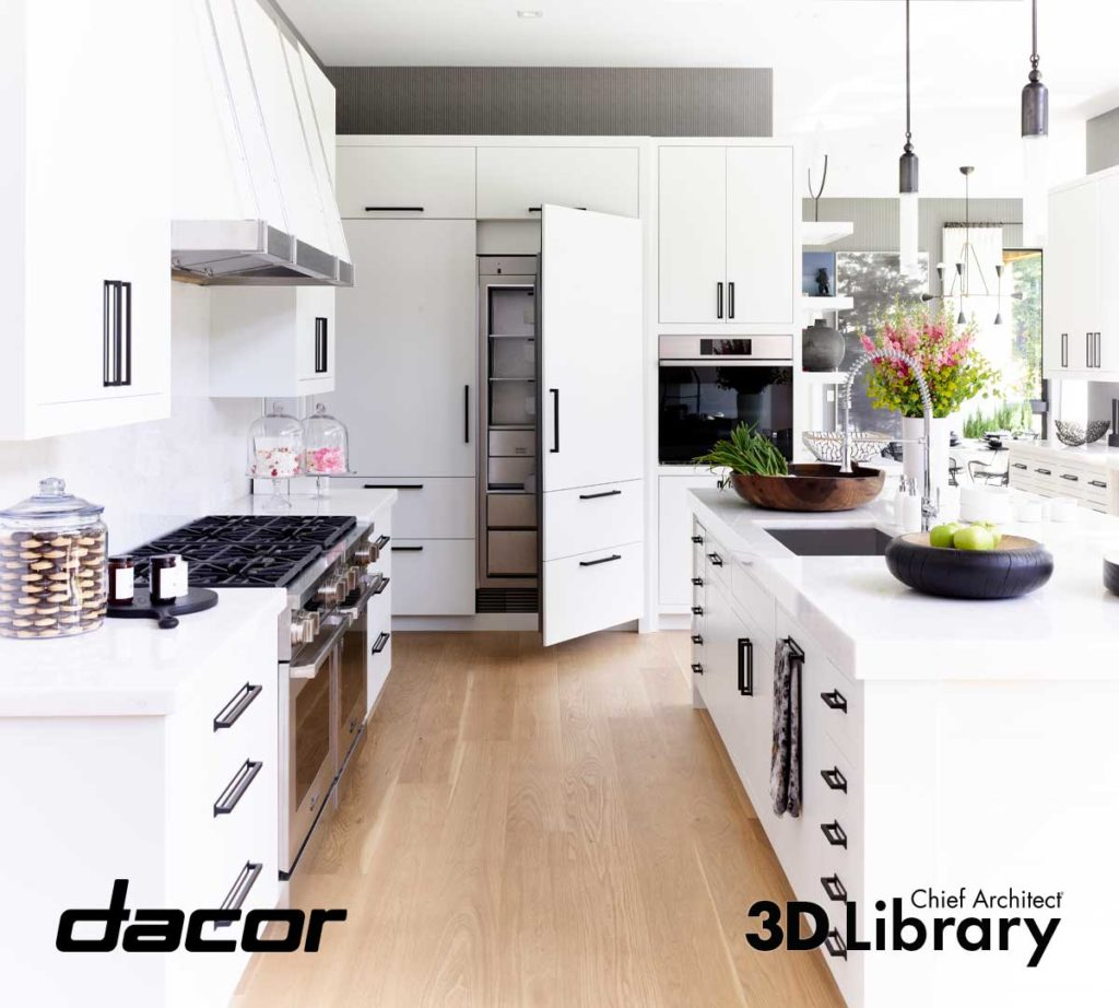 Stark white kitchen with warm wod floors, back hardware and stainless steel appliances.