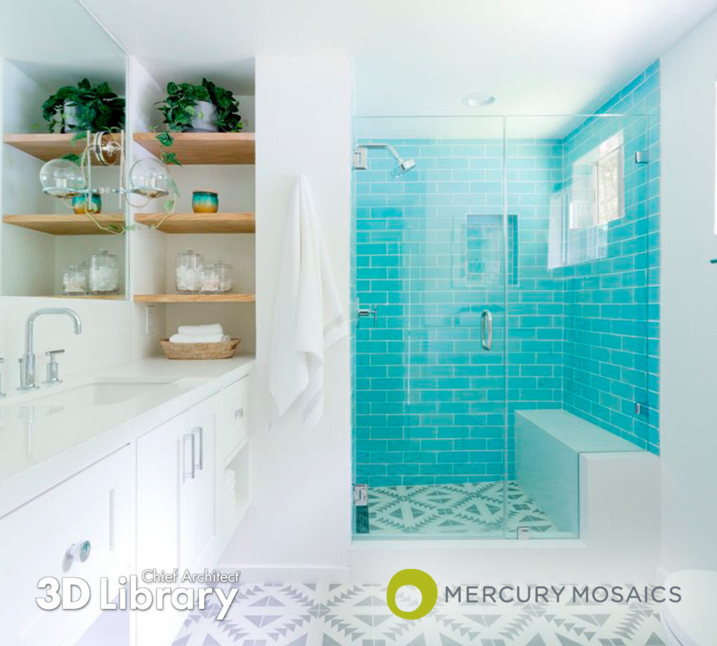 White bathroom with walk-in shower, wood shelves, and vibrant teal wall tile.